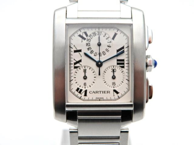 【送料無料】Cartier 時計 タンクフランセーズ クロノリフレックス W51001Q3 クオーツ SS アイボリー文字盤【439】【中古】【大黒屋】