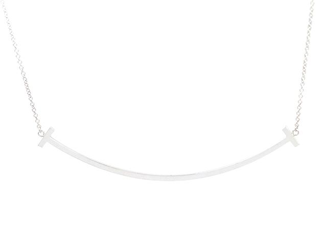【送料無料】TIFFANY&CO  ティファニー  Tスマイルネックレス/K18ホワイトゴールド/4.1g【471】【中古】【大黒屋】