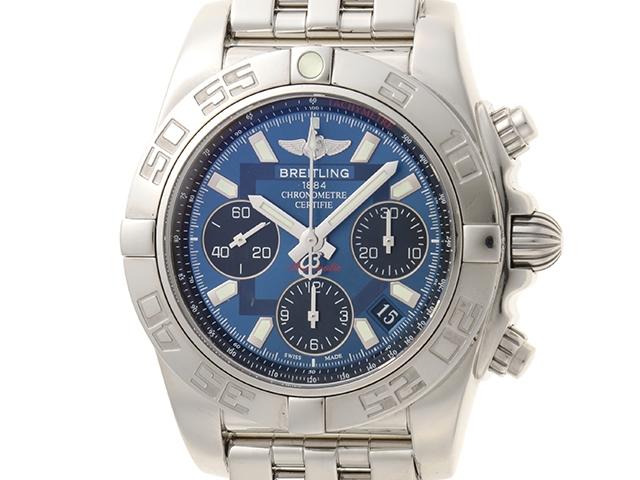 【送料無料】BREITLING 時計 クロノ マット41 AB0140 オートマチック ブルー文字盤 メンズ時計 ステンレススチールSS【430】【中古】【大黒屋】