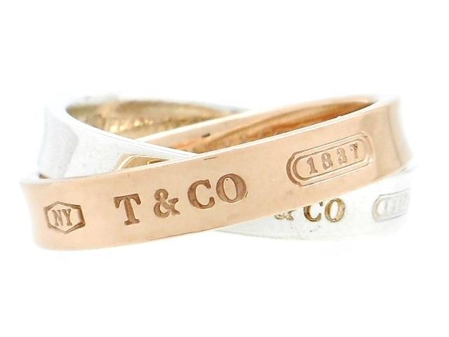 TIFFANY&CO ティファニー リング 指輪 1837インターロッキングリング シルバー メタル 8号 5.2g 2連 【200】【中古】【大黒屋】
