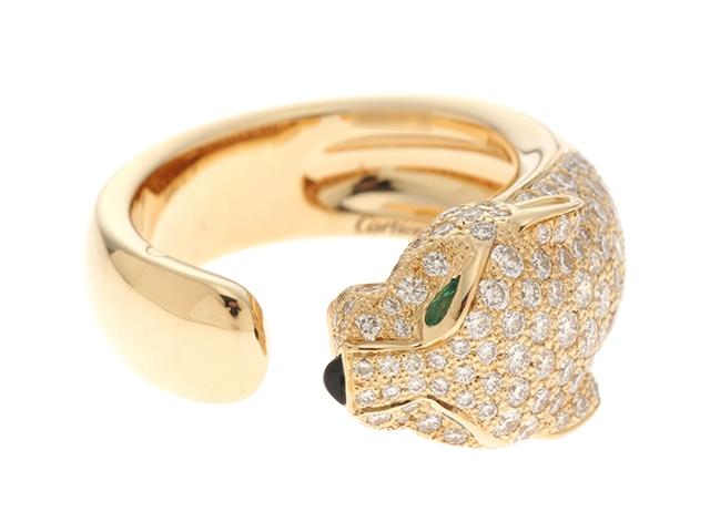 【送料無料】Cartier カルティエ パンテール ドゥ カルティエ  パンサーマサイリング イエローゴールド ダイヤモンド エメラルド オニキス 14.1g #53【430】【中古】【大黒屋】