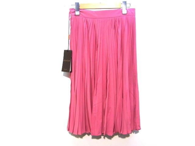 GUCCI グッチ スカート シルク ピンク レディース38 【200】【中古】【大黒屋】