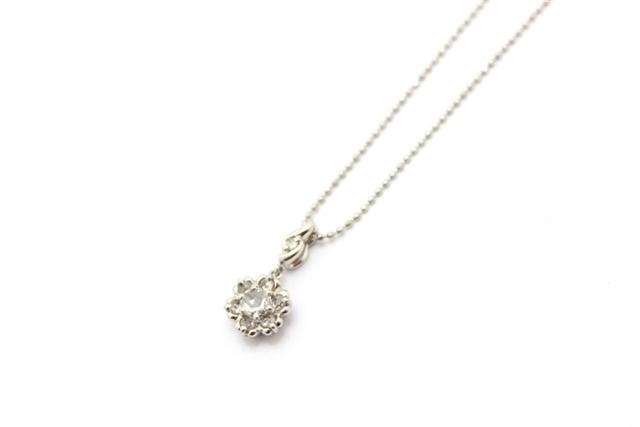 JEWELRY ノンブランドジュエリー ネックレス PT850 ダイヤモンド 0.13/0.11ct ローズカット 【473】【中古】【大黒屋】