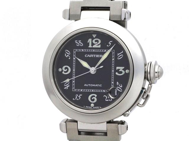 【送料無料】Cartier カルティエ ボーイズ 時計 自動巻き オートマチック パシャC 2324 ステンレス ブラック 100m防水 【436】【中古】【大黒屋】
