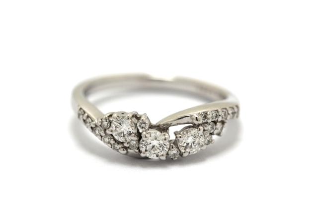 JEWELRY ノンブランドジュエリー リング 指輪 K18ホワイトゴールド ダイヤモンド 0.358/0.12ct 12号 K18WG 【460】【中古】【大黒屋】