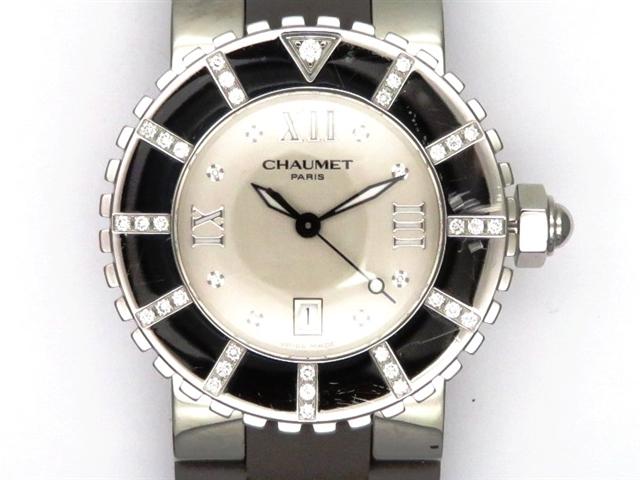 【送料無料】CHAUMET ショーメ 時計 クラスワン W0621G-094 SS/ラバー Dベゼル シルバー8PD クオーツ レディース 【438】【中古】【大黒屋】