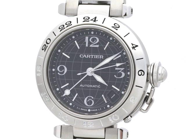 【送料無料】Cartier カルティエ パシャC メリディアン W31079M7 ステンレス ブラック文字盤 男女兼用自動巻時計【473】【中古】【大黒屋】