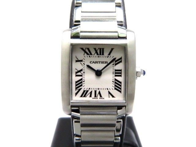 送料無料 Cartier 時計 タンクフランセーズSM クオーツ アイボリー文字盤 レディース ステンレススチールSS 430大黒屋SMzpVU