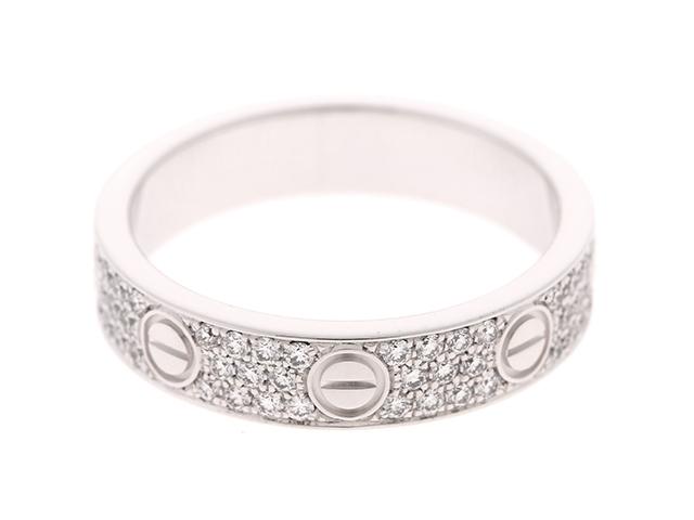【送料無料】Cartier カルティエ リング 指輪 ミニラブリング K18 ホワイトゴールド パヴェダイヤモンド 48号 【432】【中古】【大黒屋】
