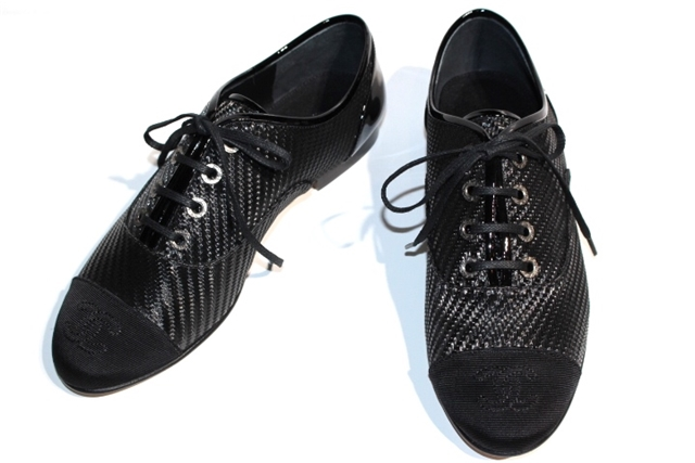 CHANEL シャネル 革靴 レディース37ハーフ  ブラック ファブリック レザー ココマーク【200】【中古】【大黒屋】