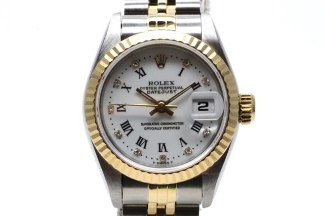 【送料無料】ROLEX ロレックス デイトジャスト 女性用腕時計 オートマチック YG SS コンビ 10Pダイヤ プリントローマ 69173G S番【471】【】【大黒屋】