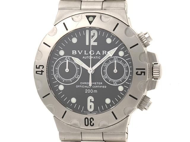 【送料無料】BVLGARI ブルガリ 時計 メンズ スクーバクロノ オートマチック SCB38S 黒文字盤 ブラック SS ステンレス【472】【中古】【大黒屋】