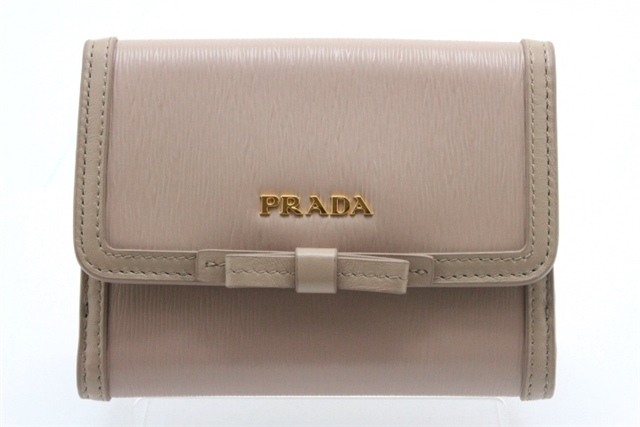 PRADA プラダ 財布  小物  Wホック財布   型押し  ピンクベージュ 1MH523 【460】【中古】【大黒屋】