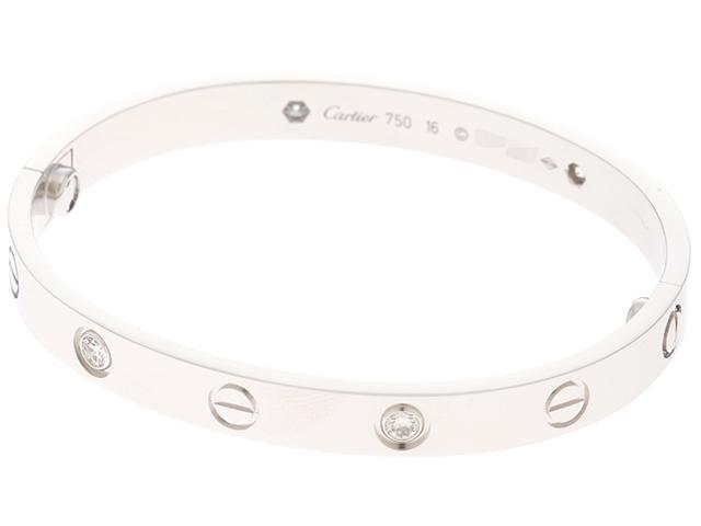 【送料無料】Cartier カルティエ ラブブレスレット ハーフダイヤモンド WG ホワイトゴールド  約31.3g #16号 新型 【430】【中古】【大黒屋】