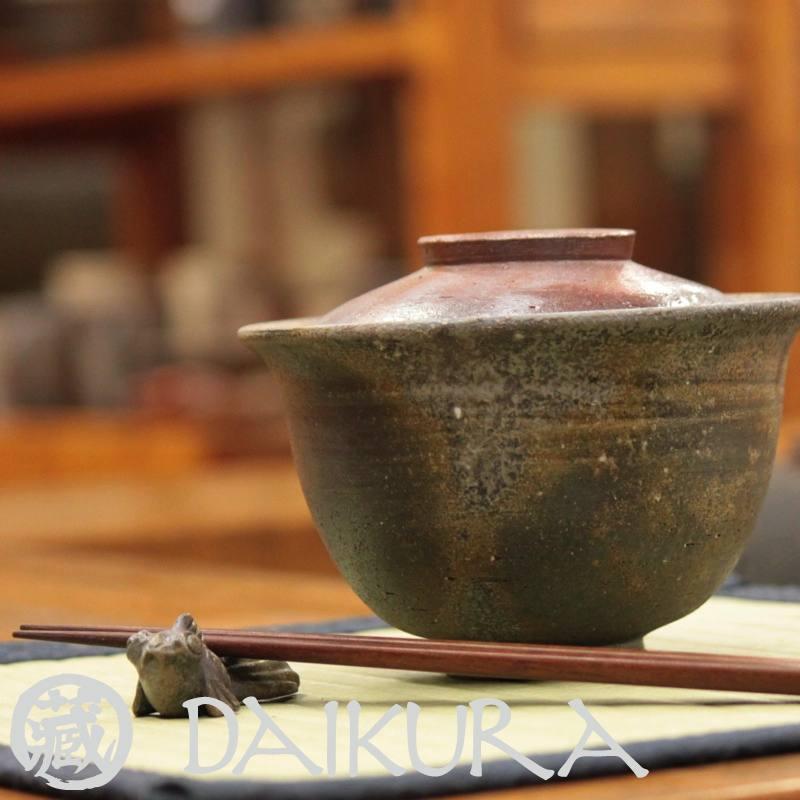 備前焼のどんぶり茶碗 蓋付き 小川弘藏作