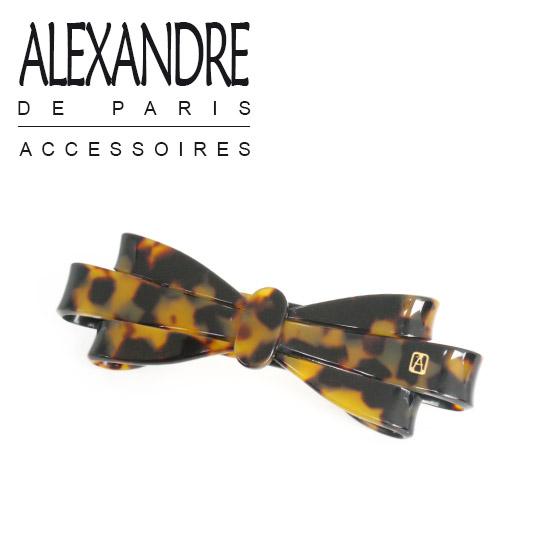 アレクサンドルドゥパリ ループリボン バレッタ(L) ALEXANDRE DE PARIS ブラウンマーブル(べっ甲風)ギフト可 ブランド 髪飾り 通販 でお得