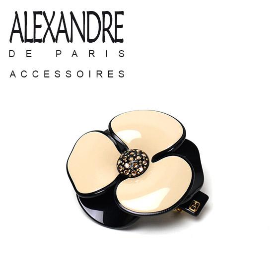 アレクサンドルドゥパリ カメリア バレッタ ヘアアクセサリー ALEXANDRE DE PARIS サンドベージュ/ブラック(S) AA6-12286-02-S1 ギフト可