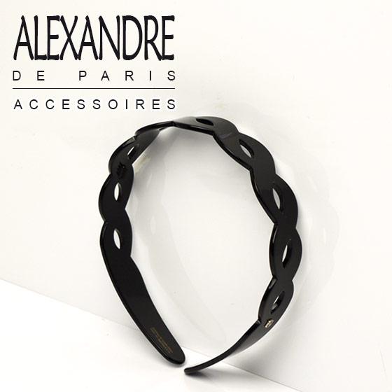 アレクサンドル ドゥ パリ ALEXANDRE DE PARIS カチューシャ ツイスト ブラック 25mm幅 ブランド 髪飾り通販 ギフト可