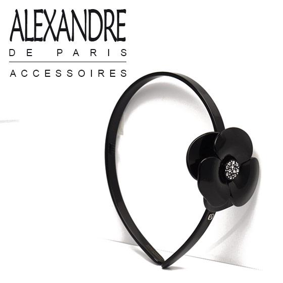 ◇ALEXANDRE DE PARIS (アレクサンドル ドゥ パリ) カチューシャ カメリア ブラック ブランド 髪飾り 通販 でお得 CAMELLIA HAIRBAND BLACK ギフト可