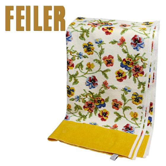 【Max1,000円OFFクーポン】フェイラー バスタオル ビオラ ホワイト - イエロー 75x150cm FEILER Chenille Bath Towel Viola White ギフトに最適 日用品雑貨 ギフト・のし可