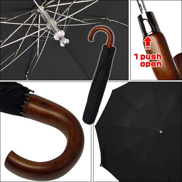 FOX UMBRELLAS(폭스안브레라즈) TEL5 브라운웃드크루크한돌 접는 우산(원터치 오픈)♪