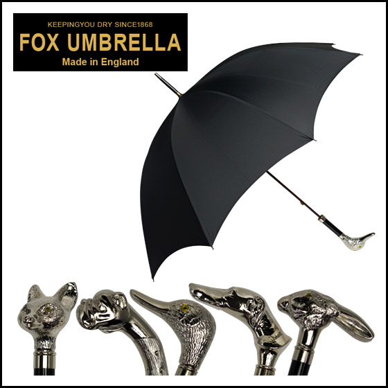 FOX UMBRELLAS(フォックス アンブレラズ)GT29 ニッケルフィニッシュアニマルヘッドハンドル 長傘 選べる5アニマルハンドル 北海道・沖縄は別途540円加算