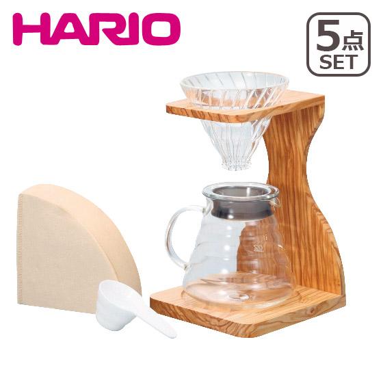 HARIO(ハリオ)V60 オリーブウッドスタンドセット 人気の5点セット!計量スプーン&ペーパーフィルター付き VSS-1206-OV ギフト・のし可 北海道・沖縄は別途962円加算
