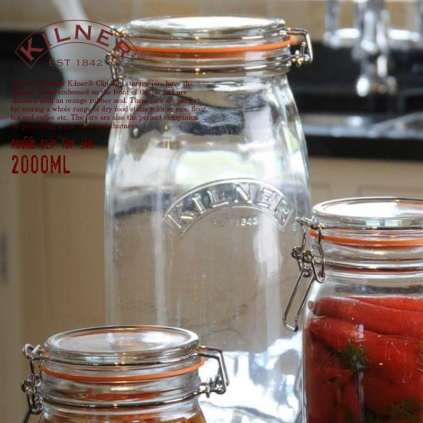 KILNER キルナー 保存瓶 ラウンド クリップトップ ジャー ガラス 2.0L×1個 ピクルス作り ジャム作り ガラス容器 2000ml 保存ビン 保存容器 ROUND JAR 2L TOP CLIP 定番キャンバス 即納