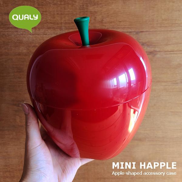 あっと目を引くかわいい小物入れ 収納ボックス 収納かご 小物入れ りんごの形の小物入れ ミニハップル 今季も再入荷 コンテナー アップルケース 定価の67%OFF レッド 赤 ふた付き インテリア雑貨 おしゃれ インテリア QUALY トラッシュボックス 果物 果実 りんご かわいい りんご箱
