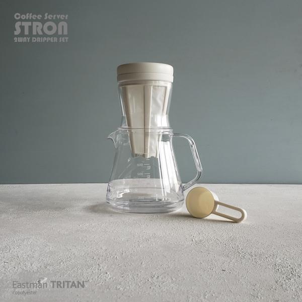 割れにくい材質のCoffeeServer コーヒーサーバー マート STRON ストロン 水出しコーヒーもできる2WAYドリッパーセット 850m 2杯~5杯用 卸直営 ホワイト Eastman 割れにくい 軽い 曙産業 おしゃれ シンプル Tritan AKEBONO コポリエステル カクセー