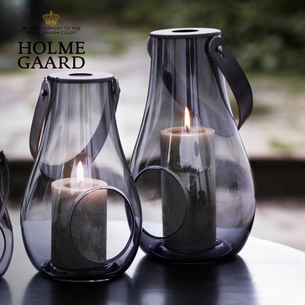 [キャンドルホルダー]HOLMEGAARD DESIGN WITH LIGHT Lantern Smoke Lサイズ H29cm(デザイン ウィズ ライト ランタン スモーク・キャンドルベース・テーブルランプ・北欧インテリア・おしゃれ・かっこいい・かわいい)ホルムガード