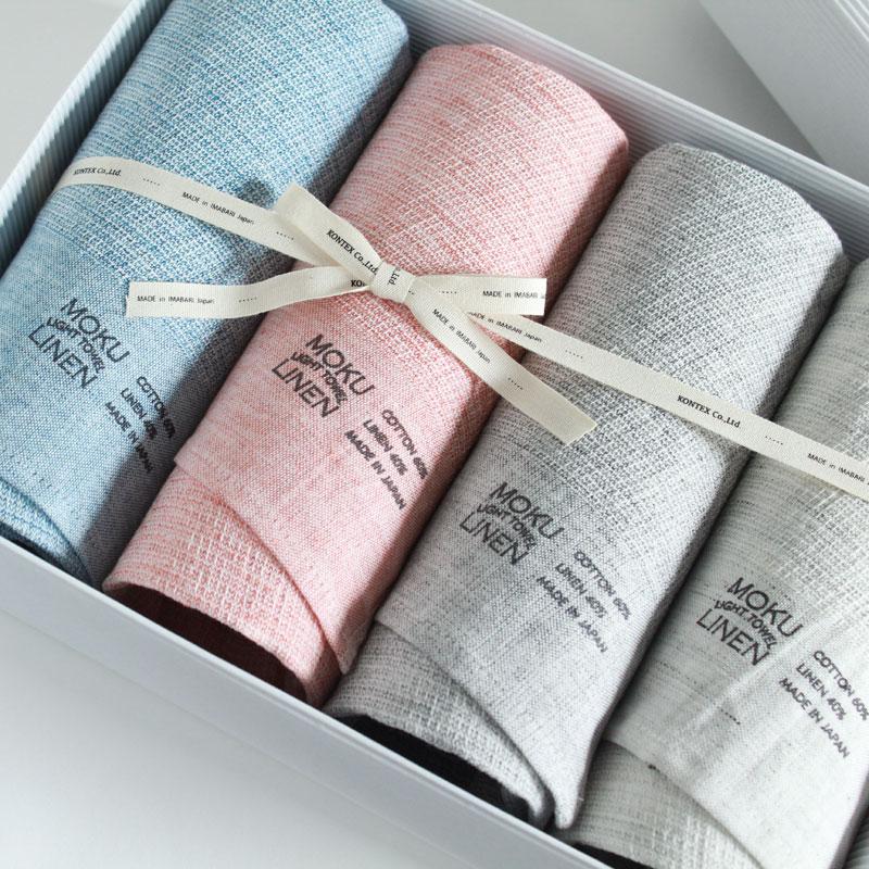 今治タオル コンテックス MOKU LINEN モク リネン ギフトセット Imabari Towel Kontex MOKU LINEN GiftSet Size L4枚ギフト包装無料 のし無料【今治タオル コンテックス ギフト】