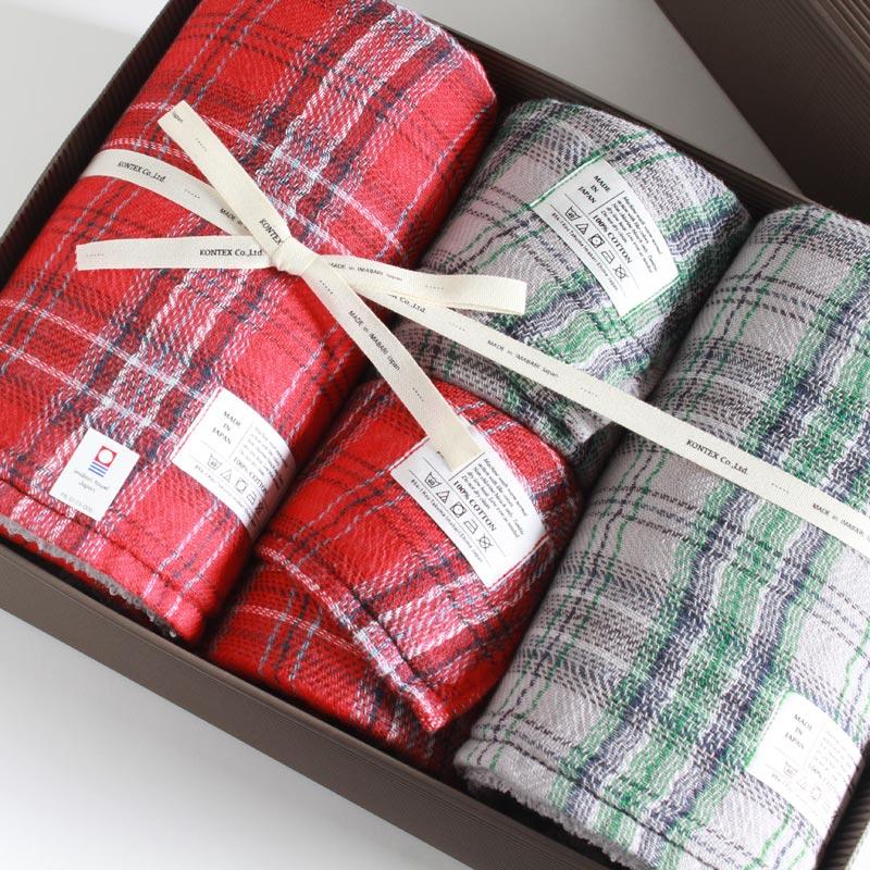 今治タオル コンテックス タータンチェック ギフトセット Imabari Towel Kontex Tartan Check GiftSet Size L2枚xSize M2枚ギフト包装無料 のし無料【今治タオル コンテックス ギフト】