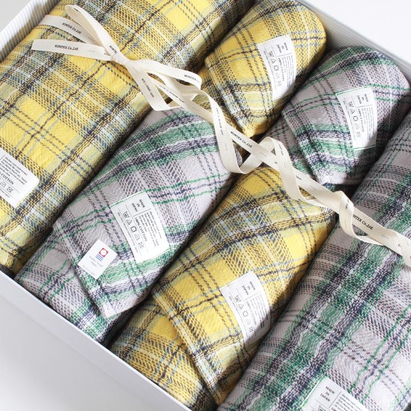 今治タオル コンテックス タータンチェック ギフトセット Imabari Towel Kontex Tartan Check GiftSet Size L2枚xSize M2枚xSize S2枚ギフト包装無料 のし無料【今治タオル コンテックス ギフト】