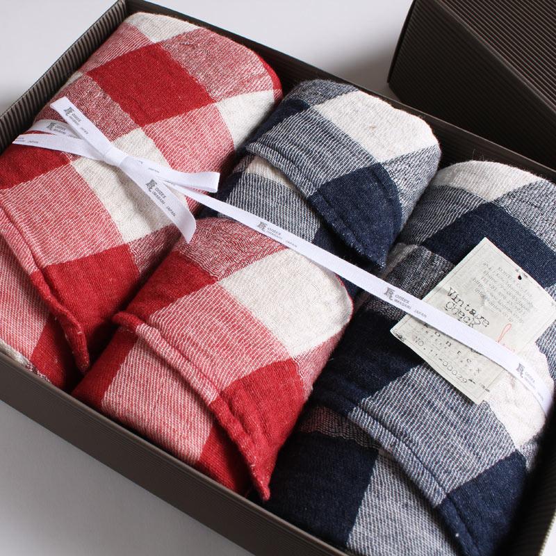 今治タオル コンテックス ヴィンテージチェック ギフトセットImabari Towel Kontex Vintage Check GiftSetバスタオル 2枚 x フェイスタオル 2枚ギフトラッピング無料 のし無料