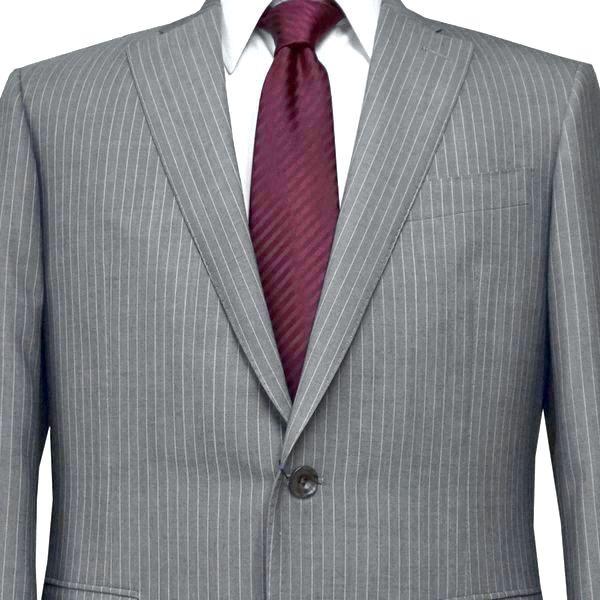 春夏|ロンナー|メンズスーツ|ブルーステッチモデル|シングル2ボタン|C(AB)|グレー(ストライプ)|日本製|紳士服|メンズ|LONNER|7k020162-3831b
