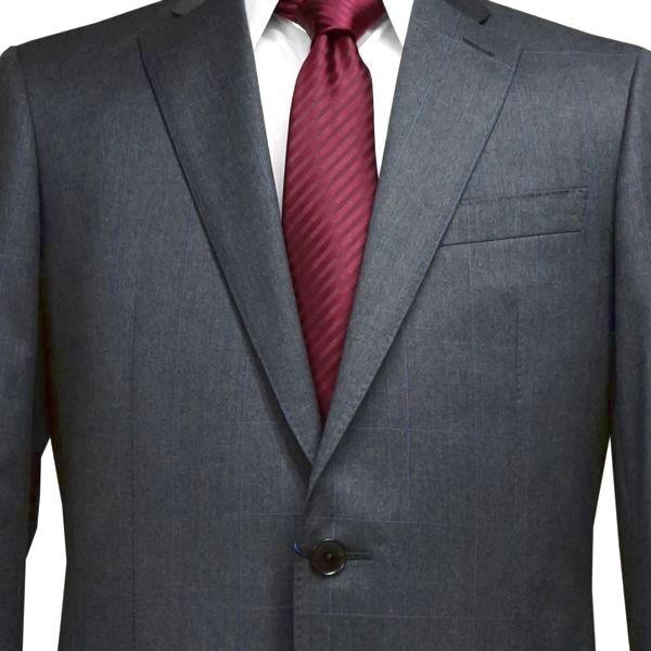春夏|ロンナー(REDA服地)|メンズスーツ|ブルーステッチモデル|シングル2ボタン|R(A体)|グレー(ウィンドゥペン)|日本製|紳士服|メンズ|LONNER|7k020162-3861b