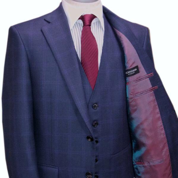 秋冬 ロンナー スリーピーススーツ ニュークラシックモデル シングル2ボタン R(A),C(AB) ネイビー チェック 日本製 紳士服 メンズ LONNER 