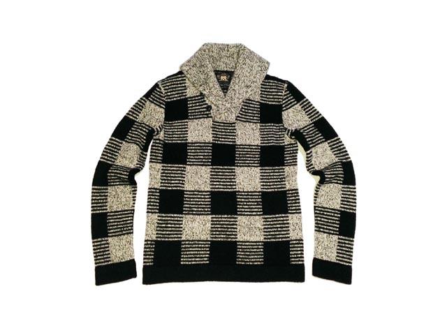 RRL 双盗块披肩领羊毛毛衣块披肩领羊毛毛衣 (黑色/灰色)