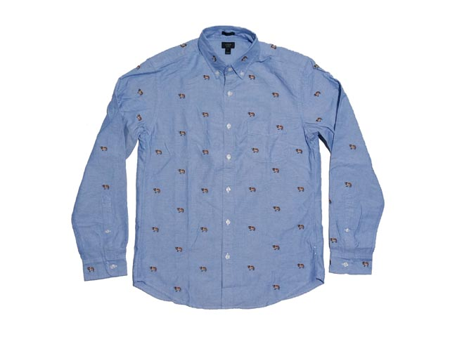 J... From the CREW of the slim vintage Oxford shirt with embroid St.  Bernard!