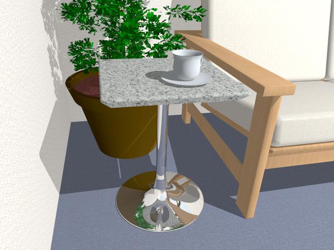 人工大理石製サイドテーブル シャープデザイン