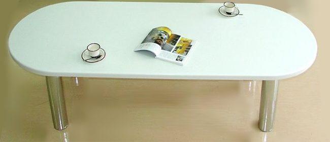 ≪インテリア≫【人工大理石】≪リビングテーブル≫イタリアンBカーブノーブルホワイト D-185≪楕円≫【特注可】