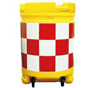 【安全興業】AZクッションドラム コロ付(PE製) AZCK-001【赤白】※代引き不可商品※【K】
