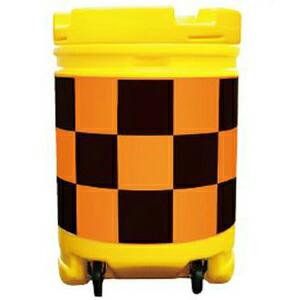 【安全興業】AZクッションドラム コロ付(PE製) AZCK-003【橙黒】【プリズム反射】※代引き不可商品※【K】