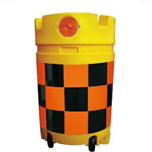【安全興業】デリネーター付コロコロドラム君(PE製) KDC-4【橙黒】【高輝度反射】※代引き不可商品※【K】