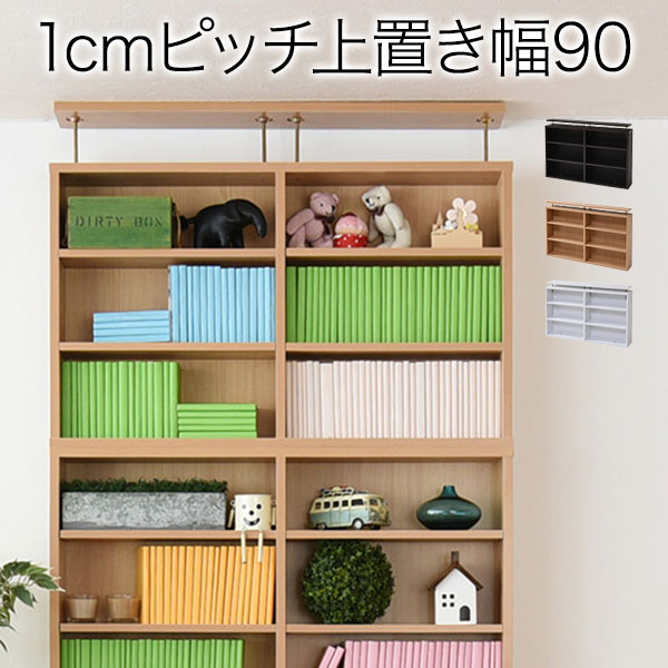 1cmピッチ 薄型 大容量 文庫本ラック 上置 90幅 ブックラック 壁面収納 文庫本収納 漫画 CD DVD ツッパリ【通LB】