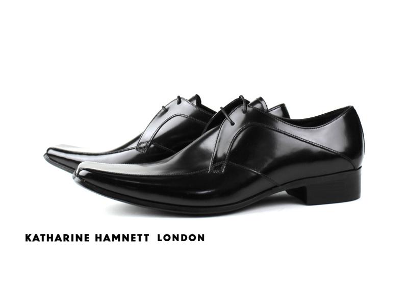 【KATHARINE HAMNETT3948】【送料無料】キャサリンハムネット 本革紐流れビジネスシューズ紳士靴