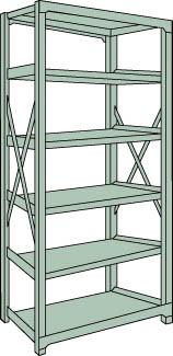 トラスコ中山 【個人宅不可】 R3型中量棚 900X450XH2100 6段 単体 R3-7356 [A170808]