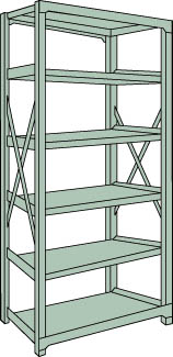 トラスコ中山 【個人宅不可】 R3型中量棚 1200X600XH2100 6段 単体 R3-7466 [A170808]