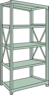 トラスコ中山 【個人宅不可】 R3型中量棚 1500X450XH2100 5段 単体 R3-7555 [A170808]